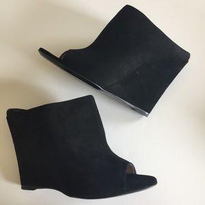 Prada Black Suede Open Toe Wedges